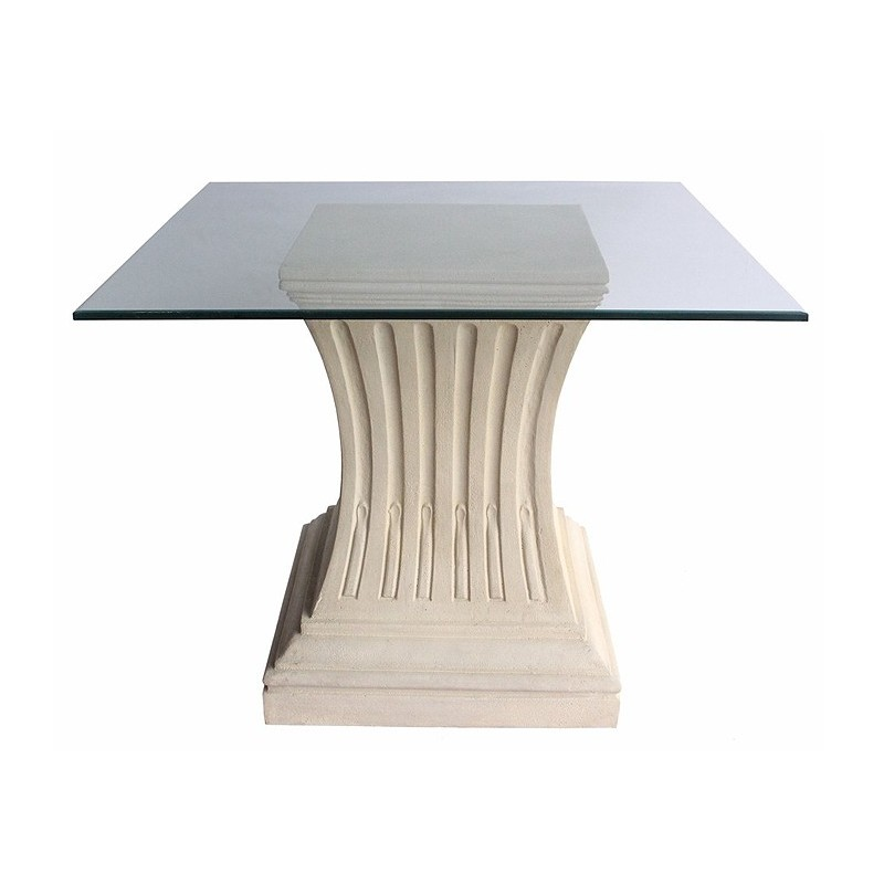 "Clear Glass ""C"" Shape Brick Style Table Base Set Shown with Optional Clear Glass Glacier Edge Table Top"