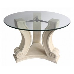 "Frosted Glass ""C"" Shape Brick Style Table Base Set"