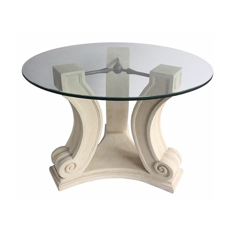 "Frosted Glass ""C"" Shape Brick Style Table Base Set - Shown with Optional Glacier Edge Table Top"