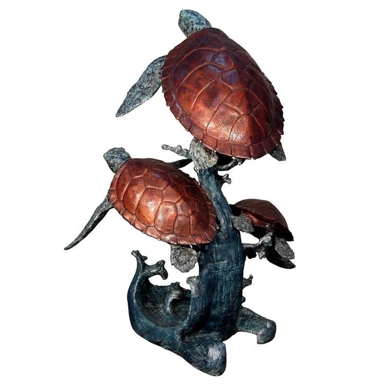 Bronze Three Sea Turtles Fountain Sculpture