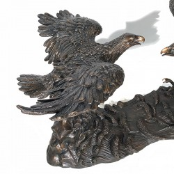 Bronze Two Eagle Dining Table Base Sculpture - Closeup