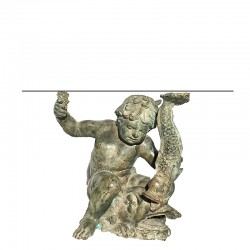 Bronze Boy and Fish End Table Base