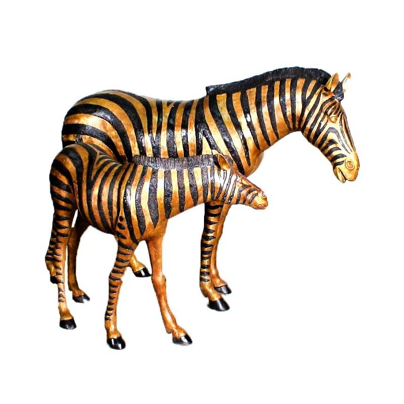 Bronze Zebra and Baby Sculpture Set