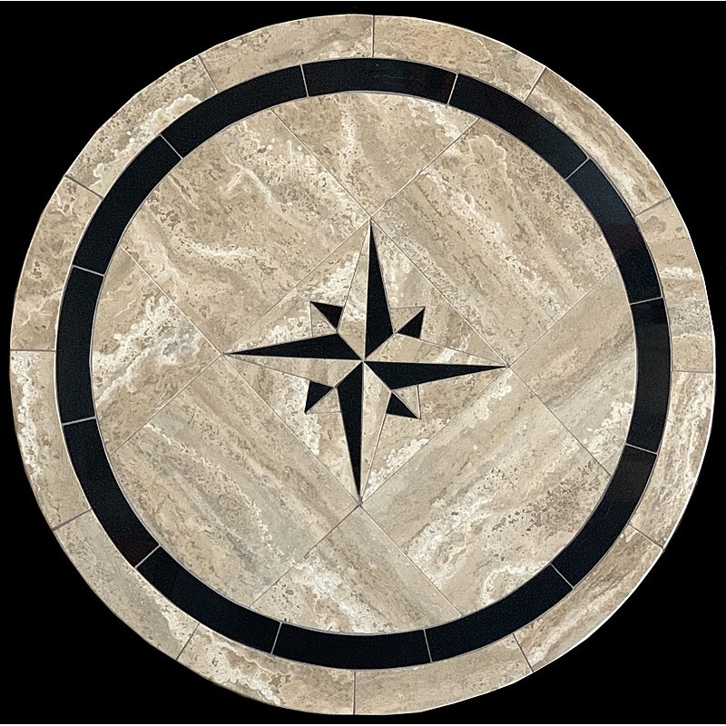 Absolute Compass Mosaic Table Top - Round