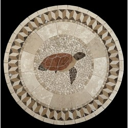 Turtle with Illusion Border Mosaic Table Top