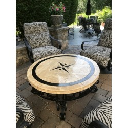 Absolute Compass Mosaic Table Top - Round - Outside Coffee Table