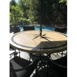 """Absolute Compass Mosaic Table Top - Round - 72"""" Round Patio Dining Table"""