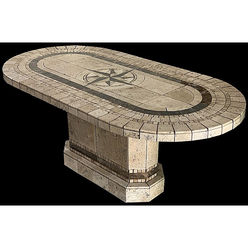 Compass Racetrack Oval Stone Tile Dining Table