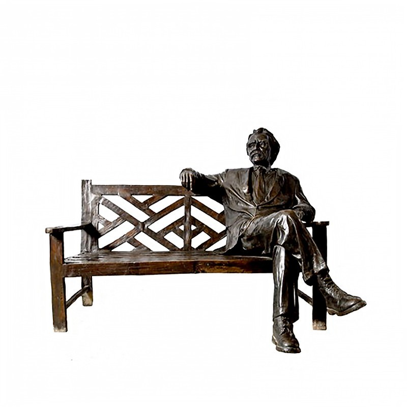 Bronze 'The Storyteller' Man on Bench Sculpture