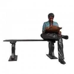 Bronze Man reading Newspaper on Bench Sculpture