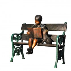 Bronze Girl with Dog on Bench Sculpture