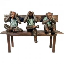 Bronze Three Wise Monkeys on Bench Sculpture