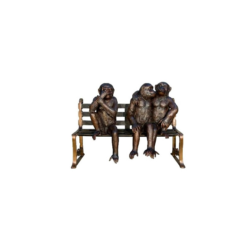 Bronze Monkeys on Bench Sculpture