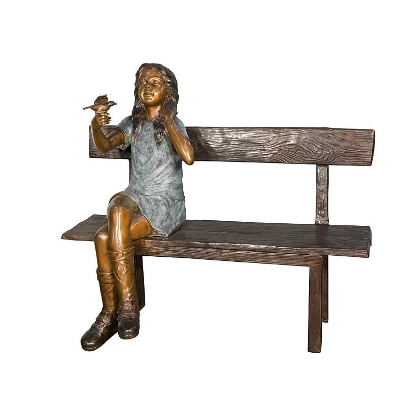 Bronze Girl on Bench holding Bird Sculpture