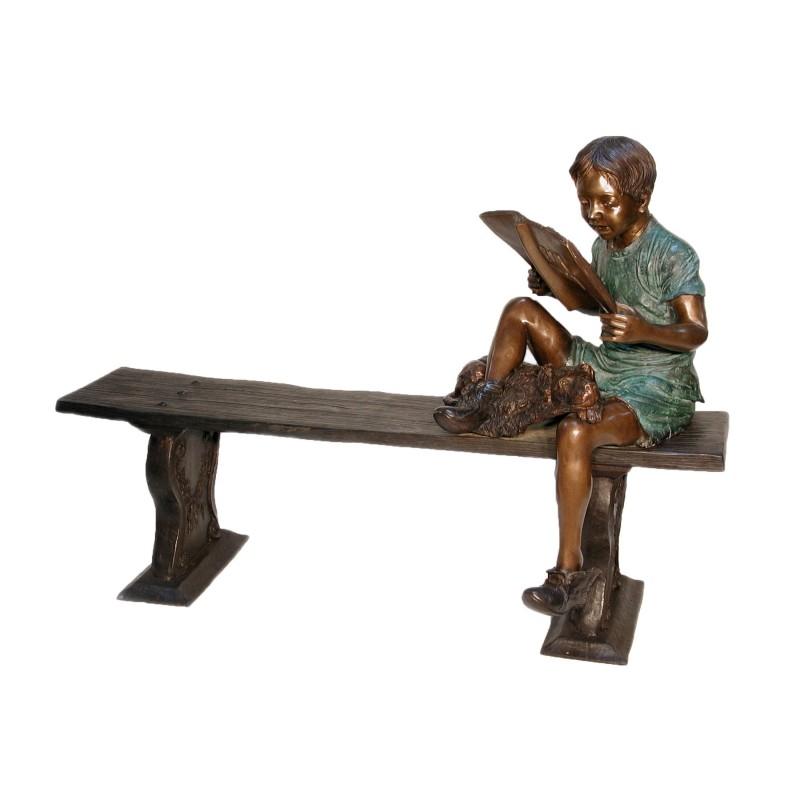 Bronze Boy & Dog Sitting on Bench Sculpture
