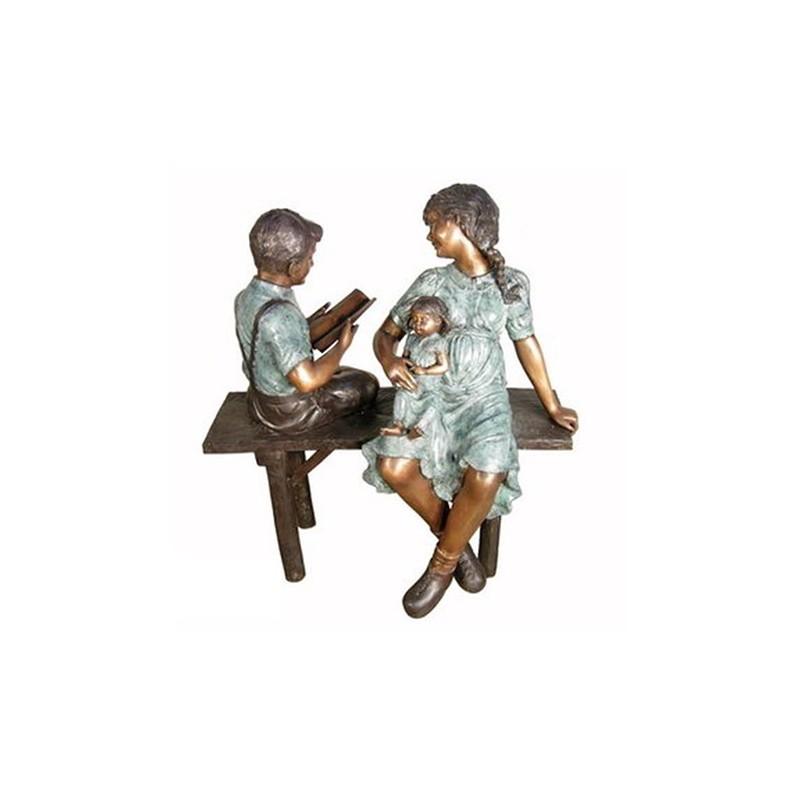 Bronze Mother with Children on Bench Sculpture
