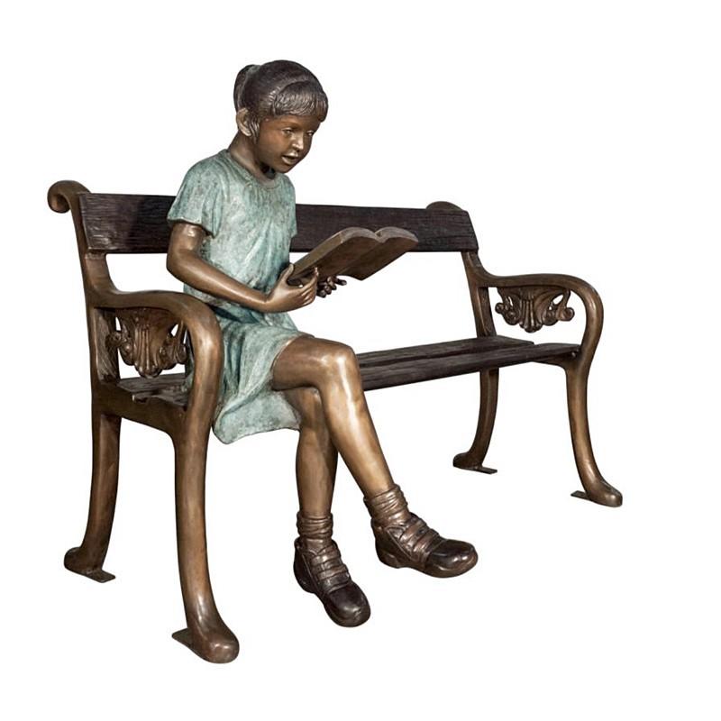 Bronze Girl Reading on Bench Sculpture