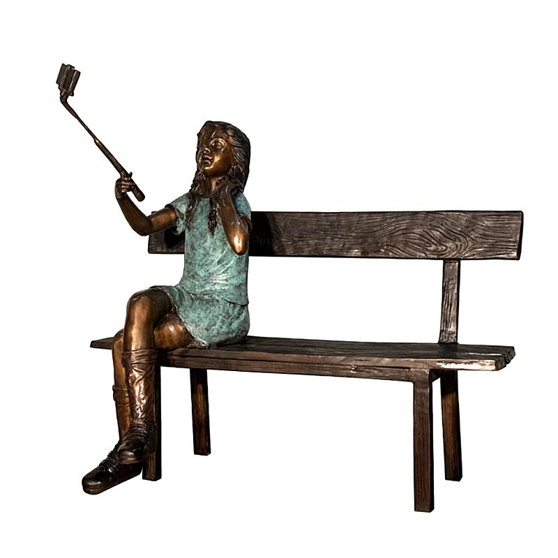 Bronze Girl Taking Picture on Bench Sculpture