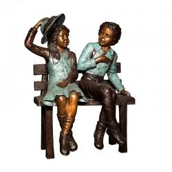 Bronze Children on Bench Sculpture