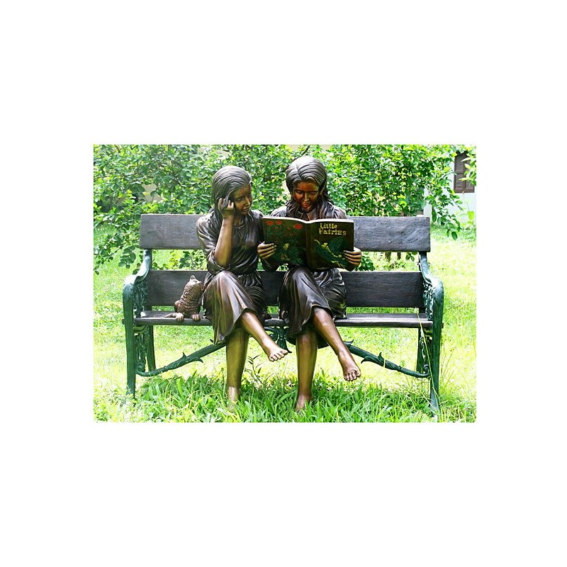Bronze Girls Reading Book on Bench Sculpture