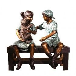 Bronze Boy & Girl with Dog...