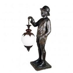 Bronze Boy holding Lantern Sculpture