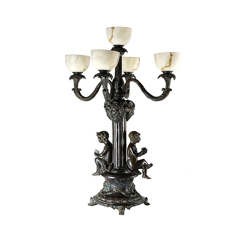 Bronze Boys Candelabra Lamp Sculpture