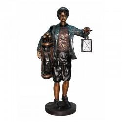 Bronze Golf Caddie Lantern Sculpture