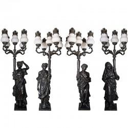 Bronze Lady Four Seasons Torchere Sculpture Set