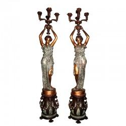 Bronze Lady holding Candelabra Sculpture Pair