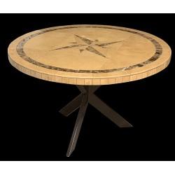 Compass Emperador Mosaic Table Top with Base