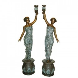 Bronze Lady Holding Torchiere on Pedestal Sculpture Pair