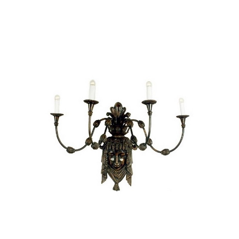 Bronze Mask Figure Wall Sconce with Four Lights