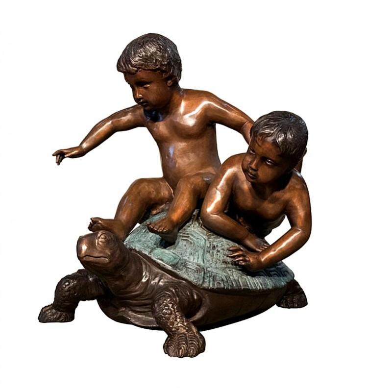 Bronze Children on Turtle Sculpture