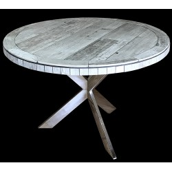 Vintage Round Mosaic Table Top with Optional Chrome Table Base