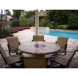 Sunflower Mosaic Table Top - Show Outside with Optional Umbrella Home and Roma Table Base