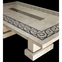 Claredon Emperador Mosaic Table Top - Close Up