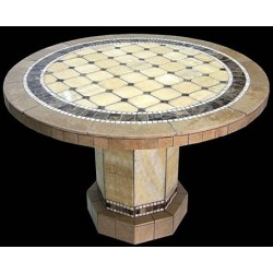Roma Mosaic Stone Tile End Table Base - Shown with Optional Mosaic Table Top
