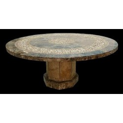 Roma Mosaic Stone Tile Coffee Table Base - Shown with Optional Mosaic Table Top