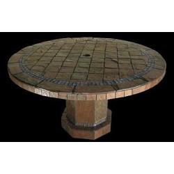 Roma Mosaic Stone Tile Bar Height Table Base - Shown with Optional Mosaic Table Top
