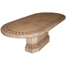 Roma Oval Mosaic Stone Tile Dining Table Base - Shown with Optional Mosaic Table Top