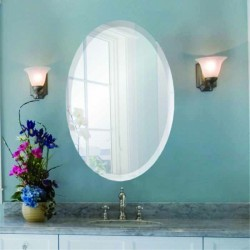 "Oval 22"" x 30"" Frameless Beveled Mirror"