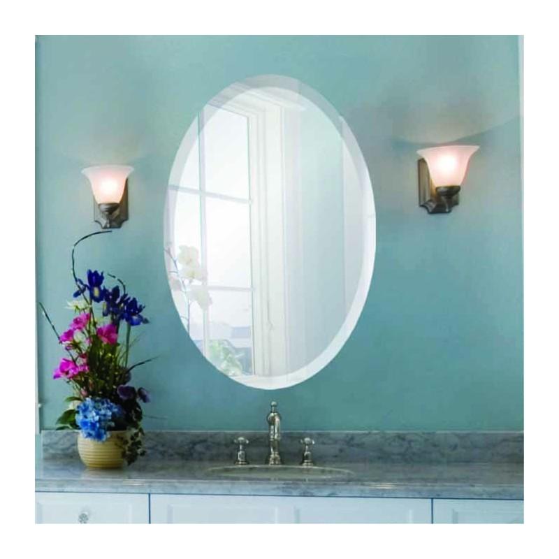 """Oval 22"""" x 30"""" Frameless Beveled Mirror"""