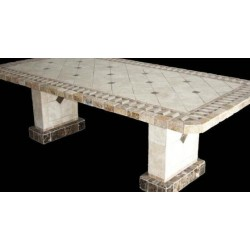 Pompeii Mosaic Stone Tile Dining Table Base Set - Shown with Optional Mosaic Table Top