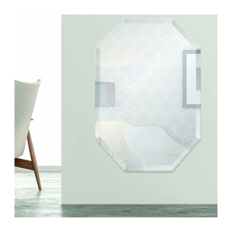 "Octagon 24"" x 36"" Frameless Beveled Mirror"
