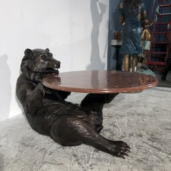 Bronze Bear Coffee Table Base with marble top