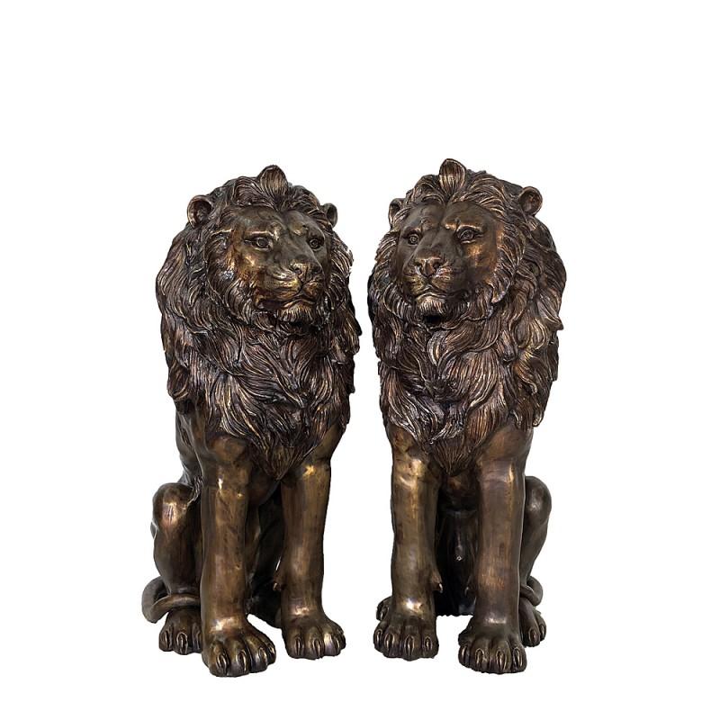 Bronze Sitting Lions Sculpture Pair with Brass Highlights