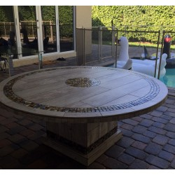 Troy Square Mosaic Stone Tile Dining Table Base - Shown with Optional Mosaic Table Top