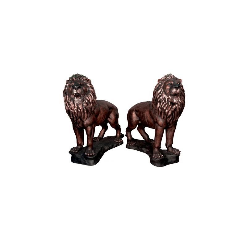 Bronze Standing Lions on Rock Sculpture Pair