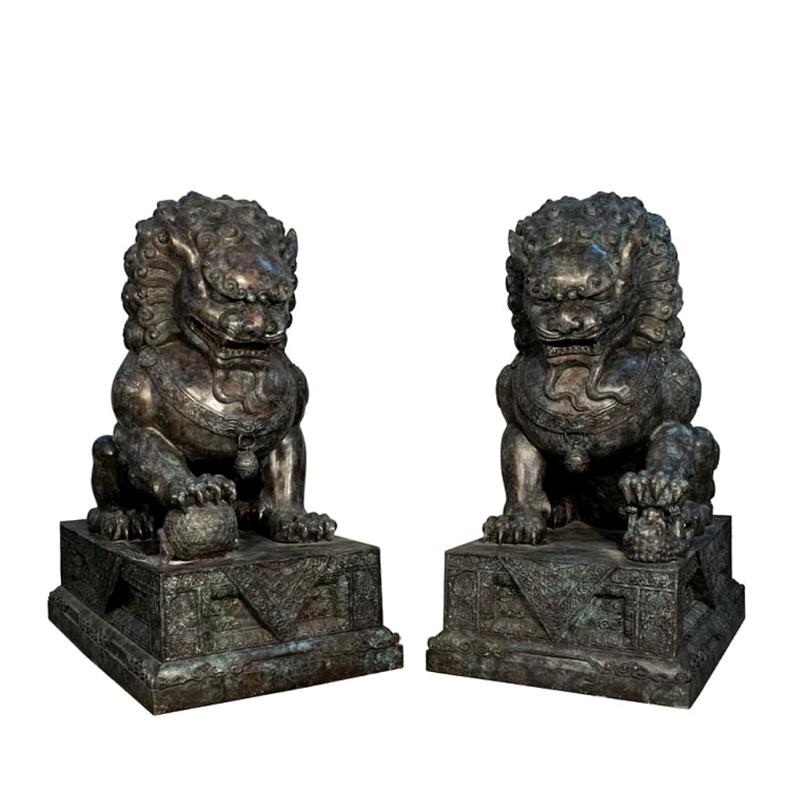 Bronze Chinese Lions on Pedestal Sculpture Set